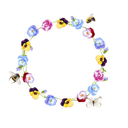 hand drawn watercolor Pansy wreath