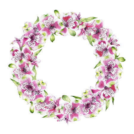 hand drawn watercolor wreath of flowers of Alstroemeria