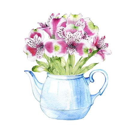hand drawn watercolor bouquet in teapot of flowers of Alstroemeria Reklamní fotografie