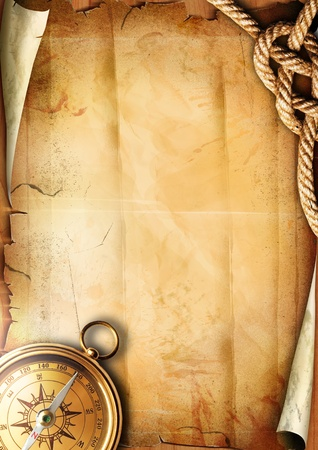 old ship: Old paper texture with a compass and rope