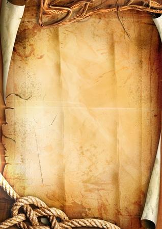 parchemin: Vieux texture de papier avec une corde.