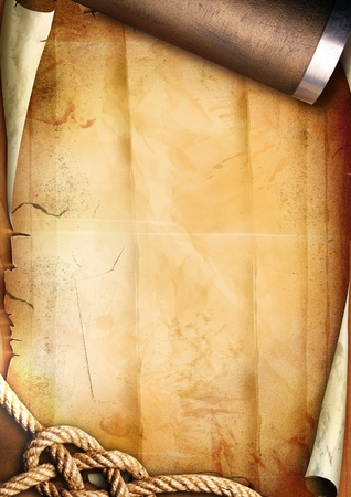 Old paper texture with a rope and a pipe Stock Photo - 9423306