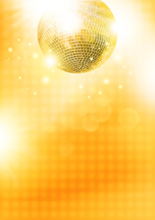 disco lights: Gold disco-ball Stock Photo