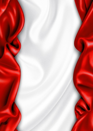 drapery: Red and white satin fabric background Stock Photo