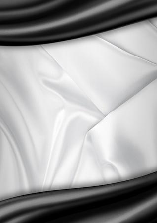 White and black satin fabric background photo