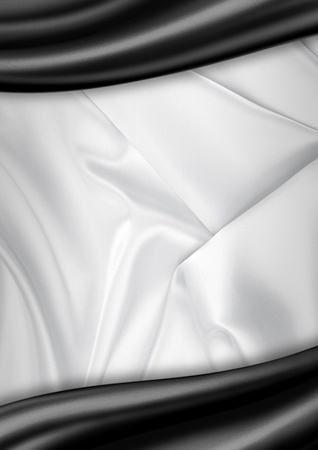 satin: White and black satin fabric background