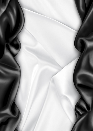 black silk: White and black satin fabric background