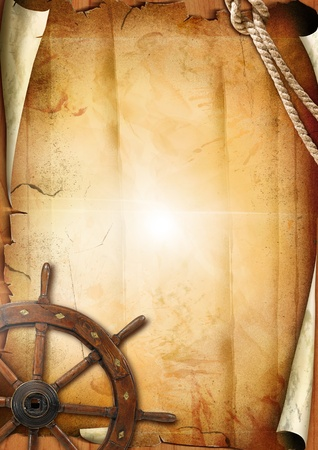 pirates:  Old paper texture with steering wheel Stock Photo