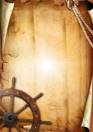 barco pirata:  Textura de papel antiguo con volante Foto de archivo