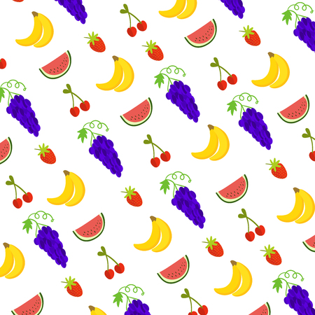 Vector illustration of fruits pattern including watermelon, babanas, grapes, cherries and srawberries for background decoration 일러스트