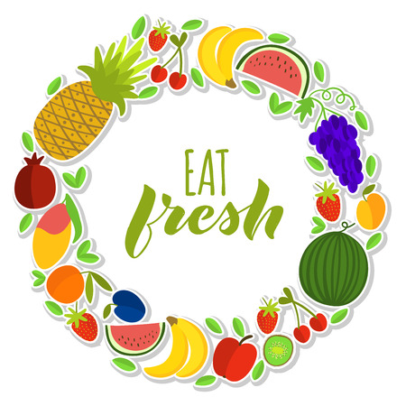 Vector illustration of fruits composition in wreath with text Eat Fresh for print, poster, advertising