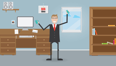 closet communication: Businessmen in office