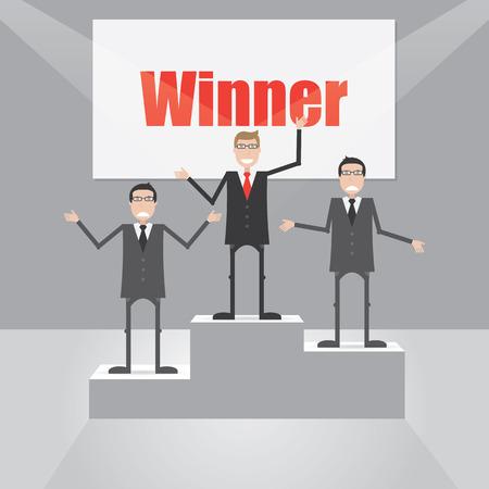 Businessman winner on the podium Vector
