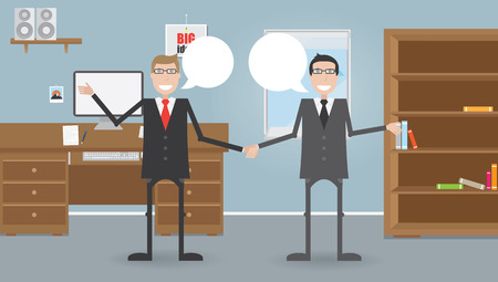 closet communication: Two businessmen in office