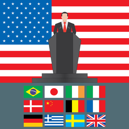 United States of America Shutdown Closed Speech Tribune Silhouette with Flag Background Vector