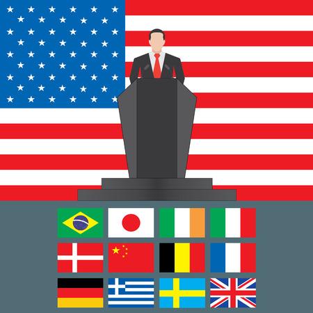 shutdown: United States of America Shutdown Closed Speech Tribune Silhouette with Flag Background