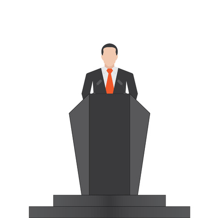 election debate: speaker icon. orator speaking from tribune flat style colorful illustration