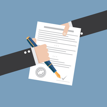 legal contract: Vector agreement icon - flat illustration - hand signing contract on white paper
