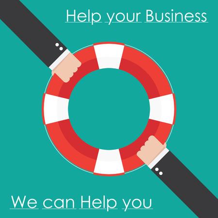 ahogarse: La mano y el aro salvavidas. Ayuda negocios