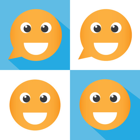 cartoon emotions: Smile icon. chat symbol