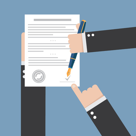 contract signing: agreement icon - hand signing contract on white paper