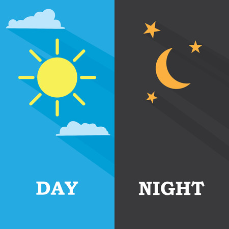 Sun and moon, day and night. Vector