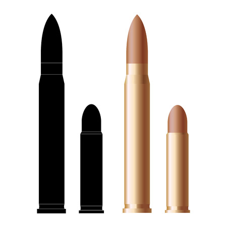 M16: Rifle bullet and pistol bullets icon isolated on white Illustration