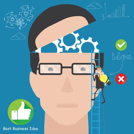Silhouette businessman thinking idea. Business idea connection Vector
