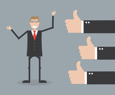raise the thumb: Successful businessman