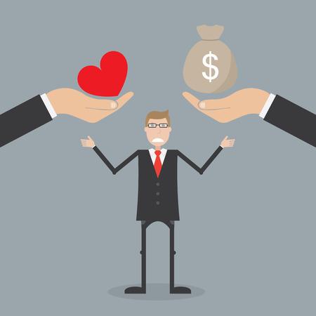 balanza: El amor y el dinero. Concepto de negocio