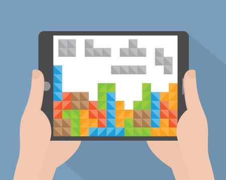 tetris: Hand holding tablet computer Illustration