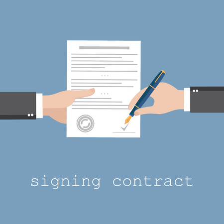 Vector agreement icon - hand signing contract on white paper Çizim