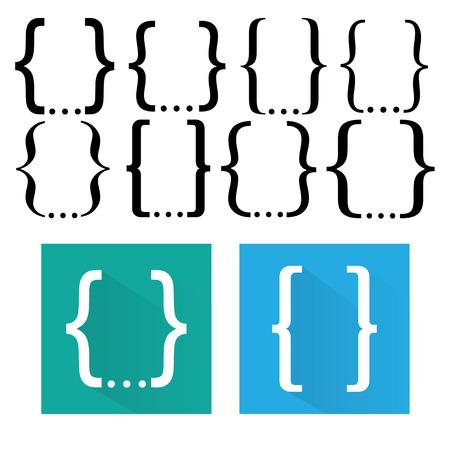 braces: Curly bracket icon set Illustration