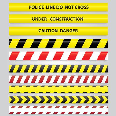 danger: Conjunto de diferentes cintas de peligro. Vectores
