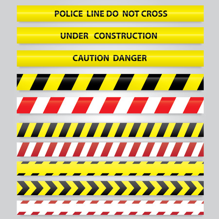 dangerous construction: Set of different danger tapes. Illustration