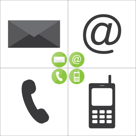 get in touch: Email, envelope, phone, mobile icons - icons set Illustration