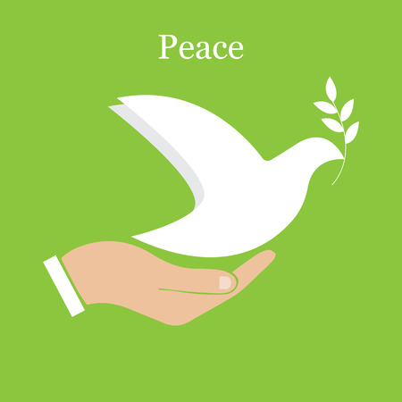 Dove of peace and olive branch Çizim