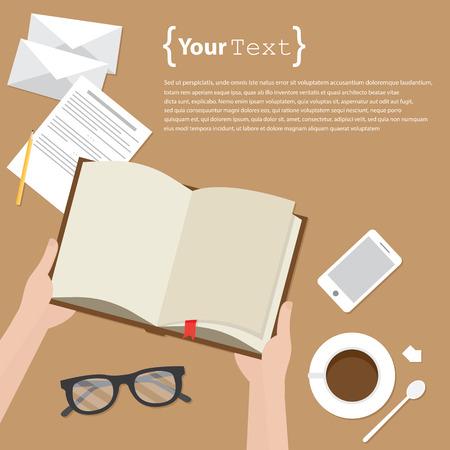 Reading books desktop Illustration