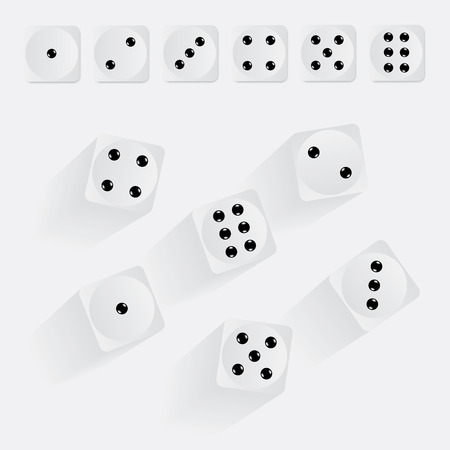 White dices. Vector illustration