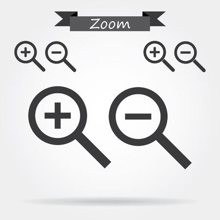 zoom in: Acercar y alejar Iconos Vectores