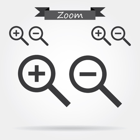 Zoom In and Out Icons Illustration
