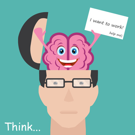 conscious: Brain showing paper with message I want to work. Concept employee Illustration