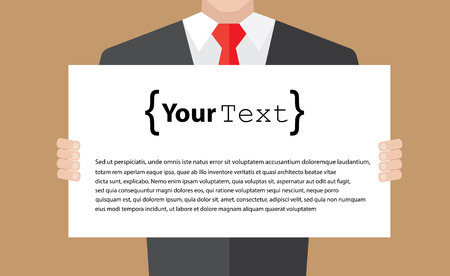staff training: Businessman holding banner for your text. Flat style