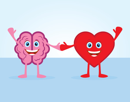 heart with crown: The brain and the heart Illustration