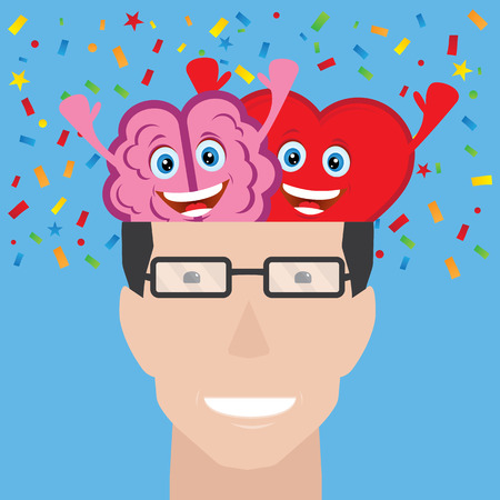 Cerebro y corazón de un hombre Ilustración de vector