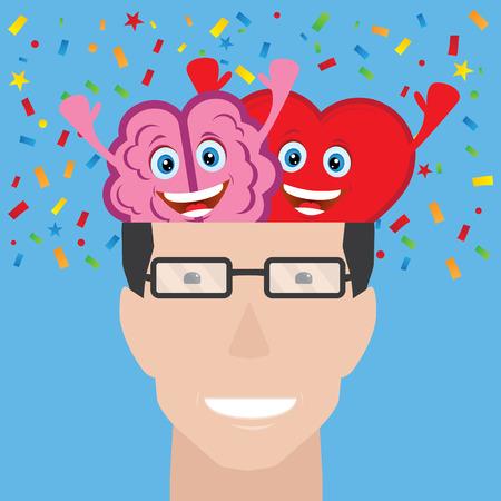 Gehirn und Herz eines Mannes
