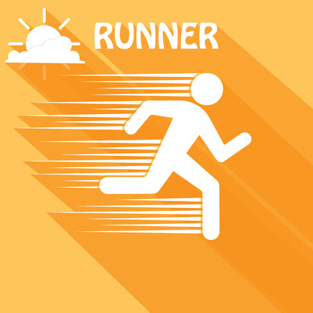 man arm: Running man. Vector. Flat style