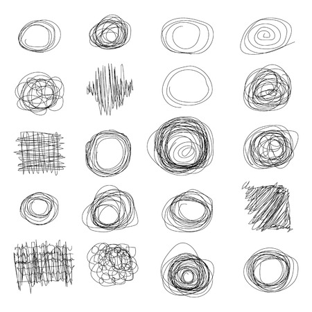 boring frame: Set of vector doodles. Hand Drawn Scribble Circles