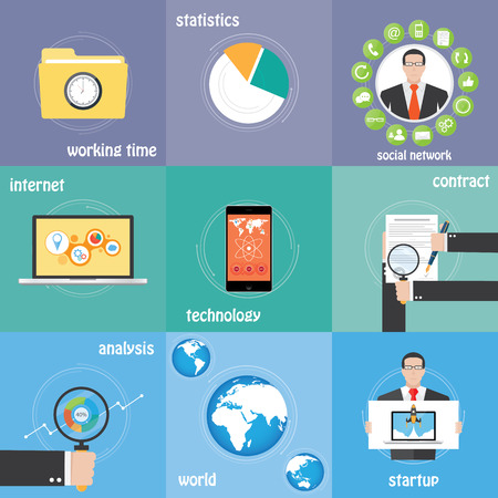 virtualization: Color icons business, communication, work, contract, statistics and analysis Illustration
