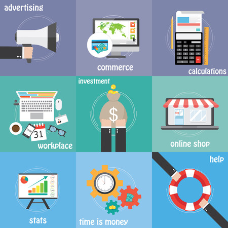 Color icons commerce, investment, money,  calculations and statistics Vector